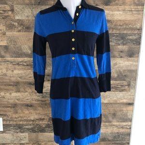 Small J. Crew Blue Stripe Jersey Dress